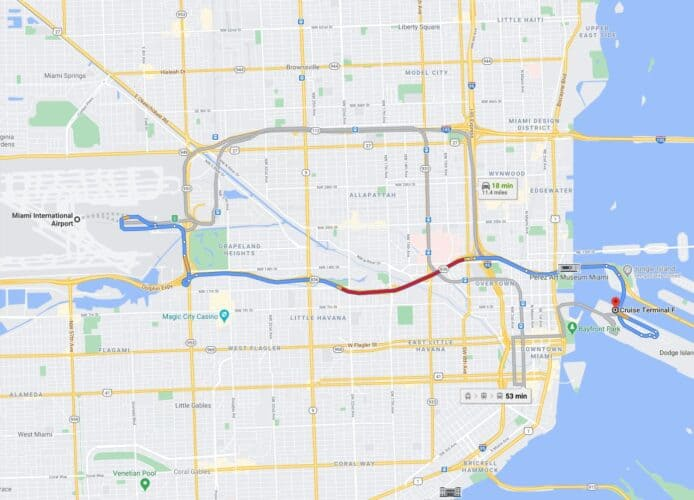 Route from Miami Airport to Cruise Port