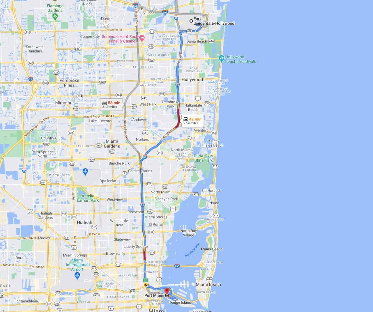 Fort Lauderdale Airport to Miami Port Route