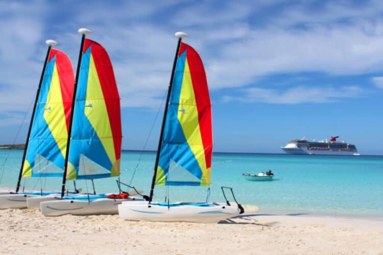 Sailboats at Half Moon Cay Island