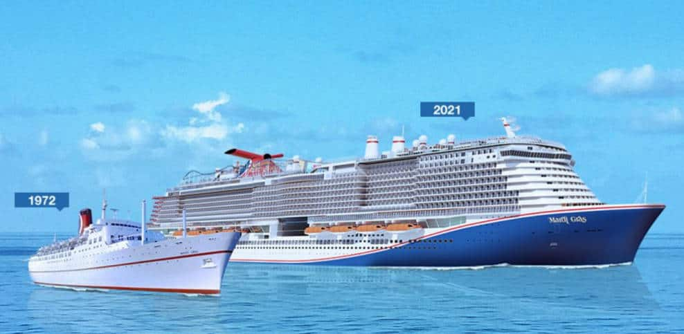 Original and New Mardi Gras Cruise Ships