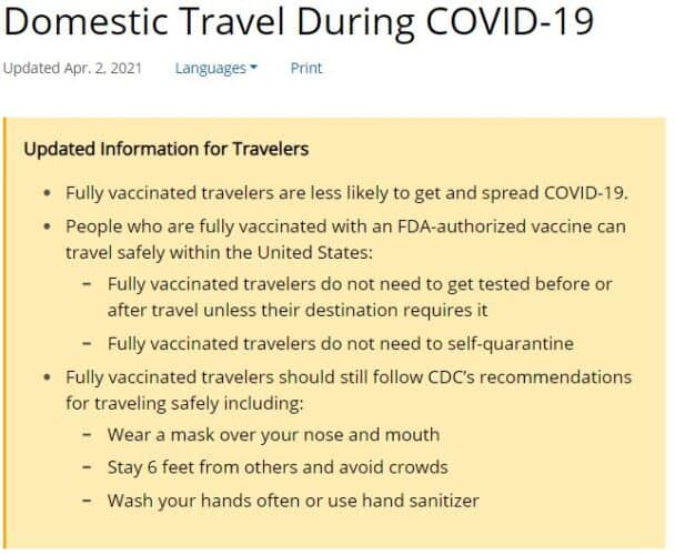 CDC Says Fully Vaccinated People Can Travel