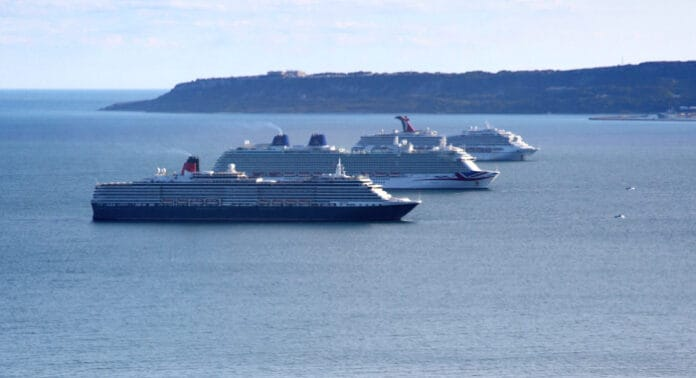 Cruise Ships off English Coast