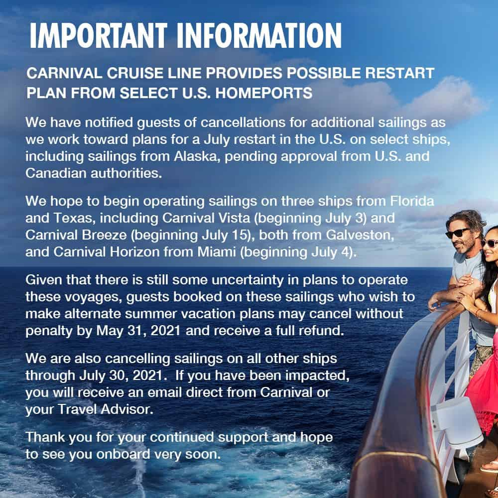 Carnival Cruise Line Suspensions and Restart