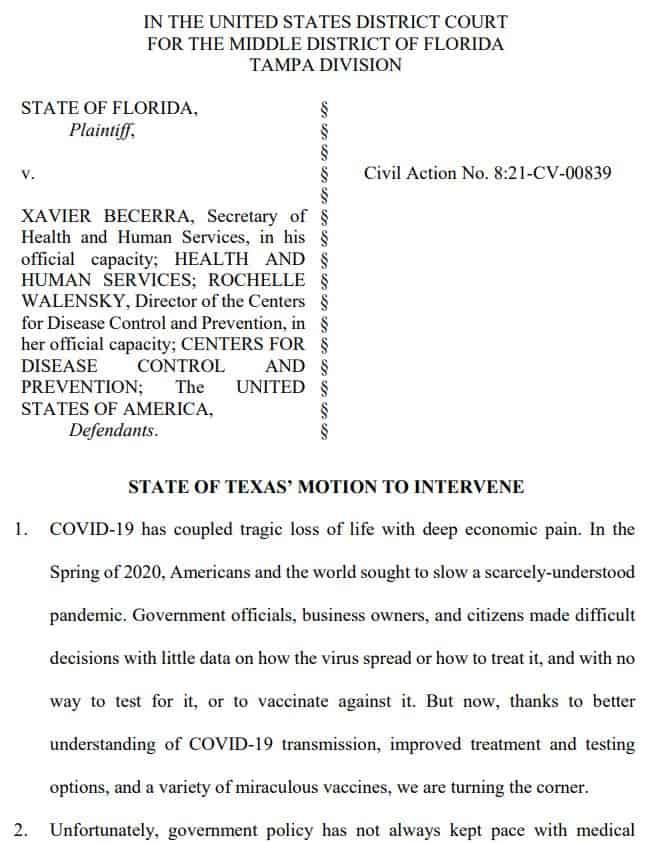 Texas Joins Florida CDC lawsuit