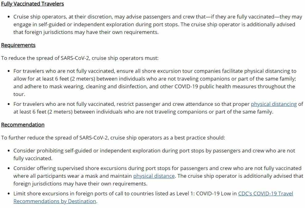 CDC Technical Instructions for Cruise Lines