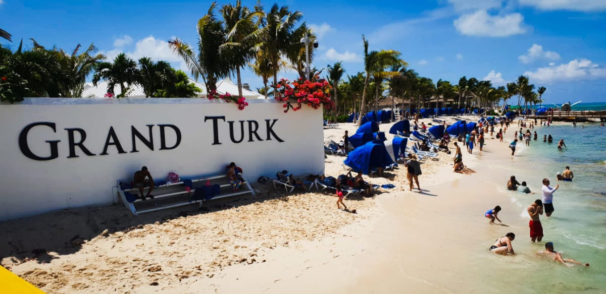Grand Turk Beach and Welcome Sign