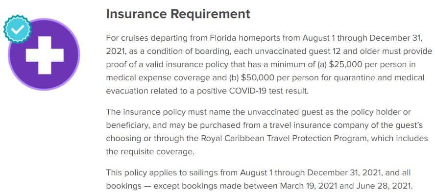 Royal Caribbean Insurance Requirement