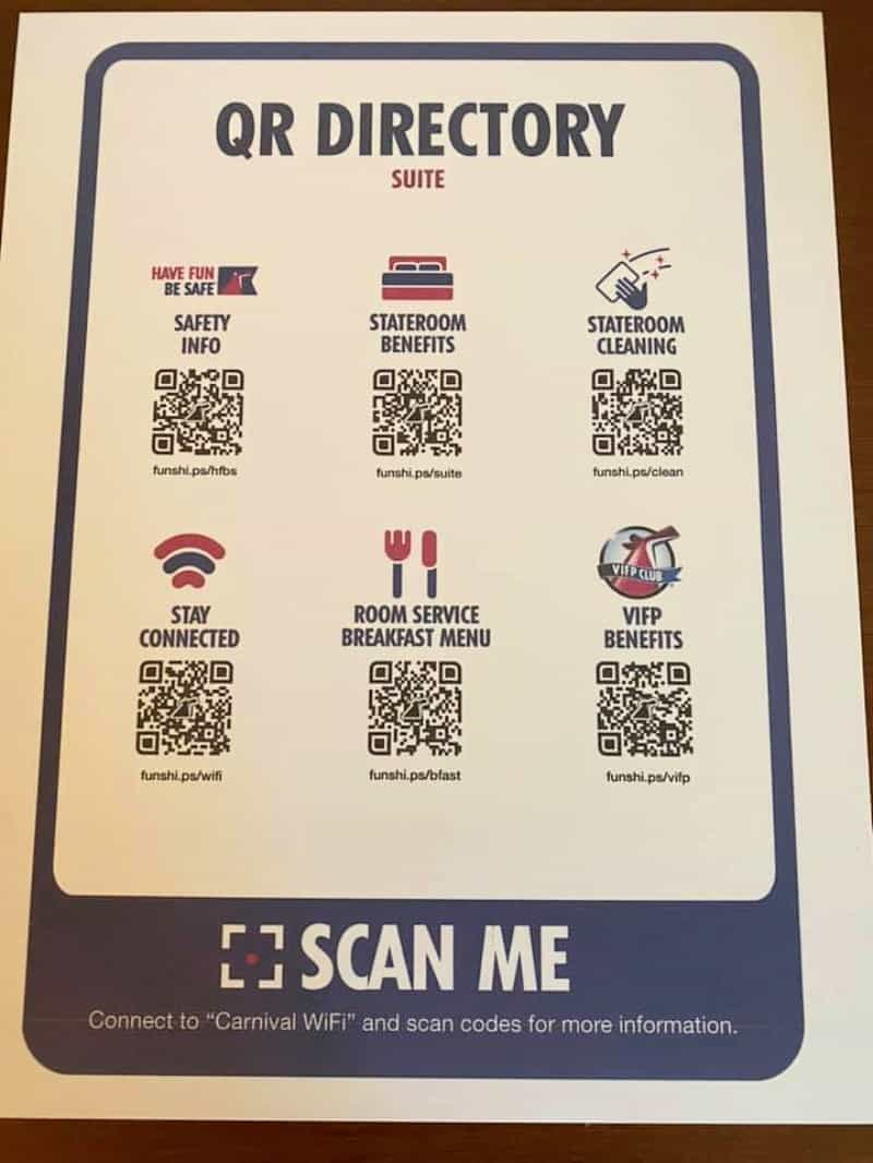 Carnival Cruise Line Scan QR Codes