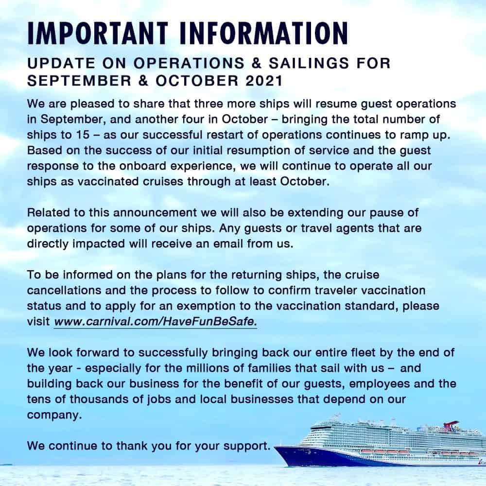 Carnival Cruise Line September and October Restart