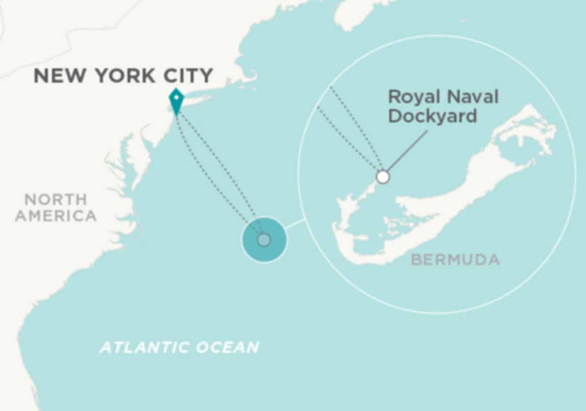 Crystal Route from new York to Bermuda
