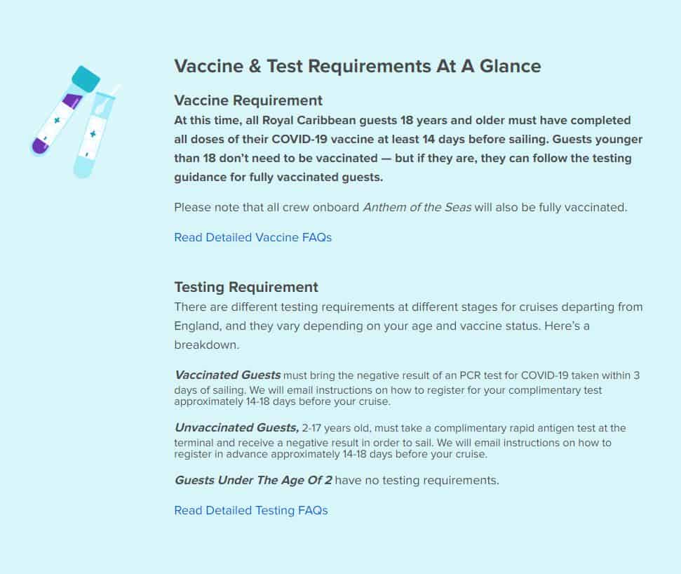 Royal Caribbean Vaccine Requirements for Southampton Departures