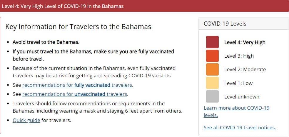 CDC Bahamas Cruise Notice