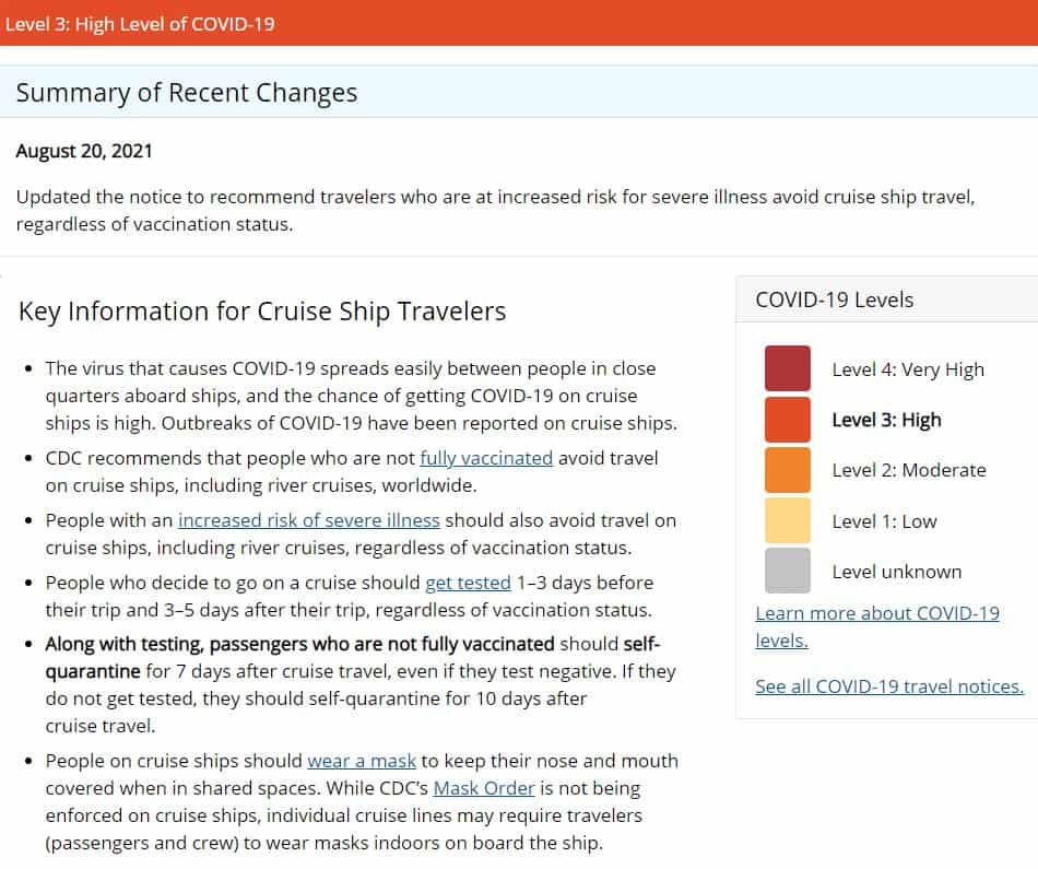 CDC Cruise Travel Notice