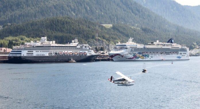 Ketchikan Floatplane Near Cruise Ships