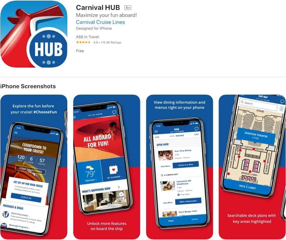 Carnival Hub App Apple Store