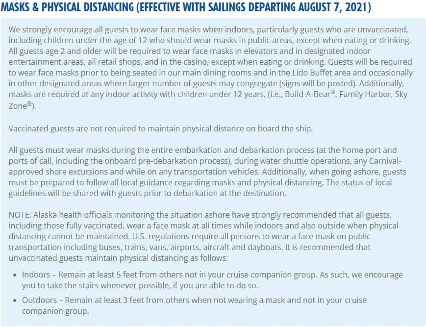 Carnival Cruise Line Mask Guidelines