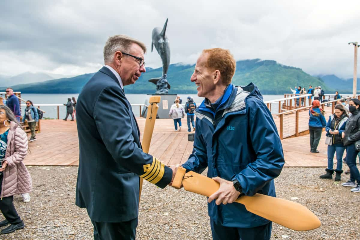 Norwegian Encore Captain and NCL CEO at Icy Straight Point
