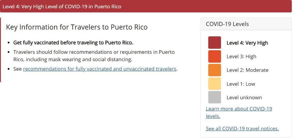 Puerto Rico CDC Travel Notice