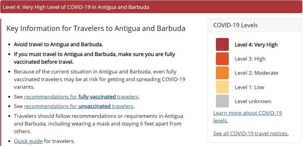 CDC Antigua level 4 travel advisory