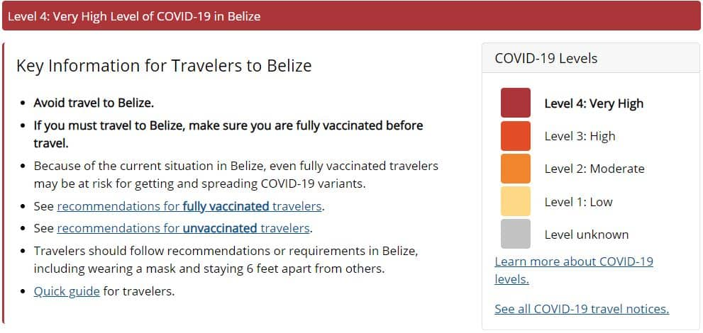 CDC Travel Notice for Belize