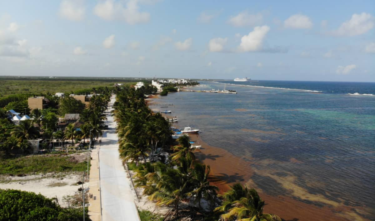 Aerial view Malecon de Mahahual Costa Maya