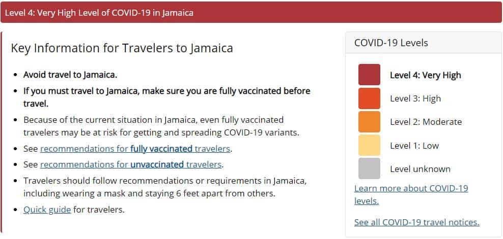 Jamaica Travel Level