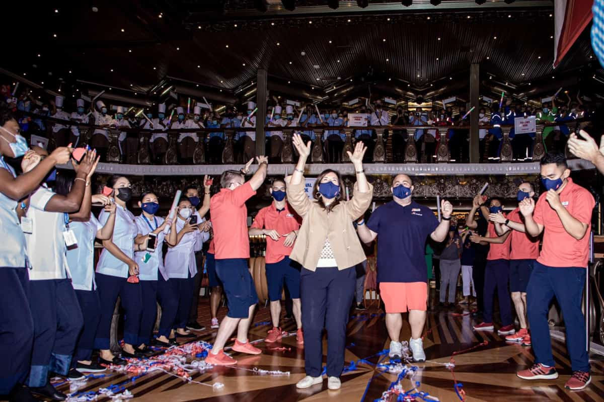 Crew Welcome Carnival Pride Guests