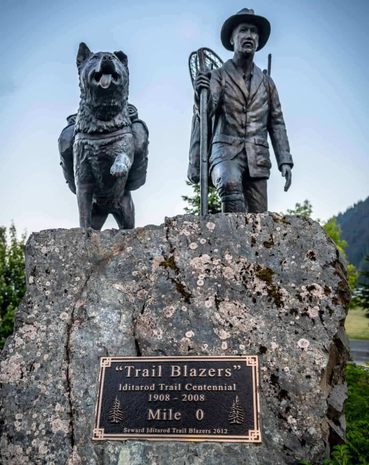 """Monument commemorating the centennial the Iditarod called """"Trail Blazers"""""""
