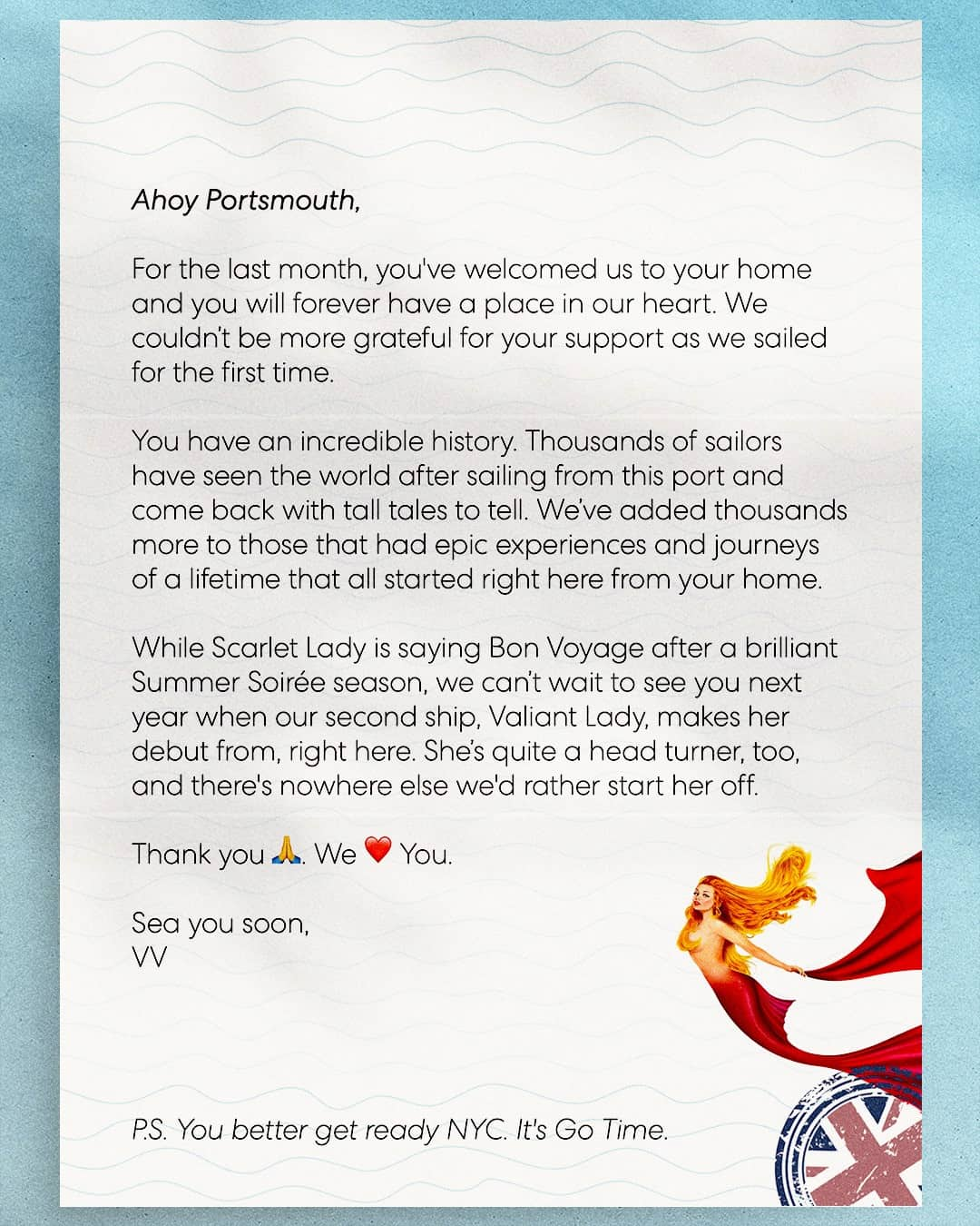 Virgin Voyages Letter to Portsmouth